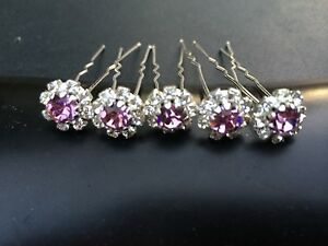 6 Wedding Prom Crystal  Pale Lilac rose  Flower Hair Pins Clips Grips