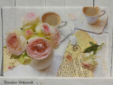Nostalgie Platzdeckchen Romantic Break Rosen Shabby Vintage Tischdeko 45x30cm