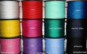 (0,18€/m) 50 m  Polyesterfaden PP Kordel 2 mm speichelfest für Schnullerketten