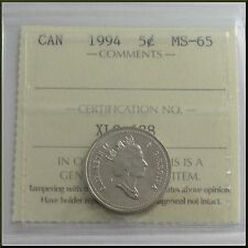1994 Canada 5 Cents Nickel Coin ICCS MS-65  #XLQ 638