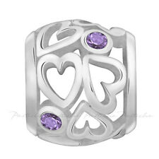 Lovelinks Bead Sterling Silver, Heart Spacer Amethyst CZ Charm Jewelry TT465AM