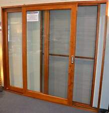 SOLID CEDAR TIMBER SLIDING DOORS WITH FLY SCREEN, 2410W X 2100H