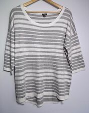 Katies Women's White & Grey Knit Jumper Top - Size XL