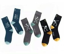 AU Stock Men's Women Combed Cotton Socks Skeleton Funny Crew Socks One Size