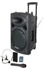 800W Mobile DJ PA Beschallungsanlage USB IBIZA Port-15VHF-BT Funkmikrofon Headse