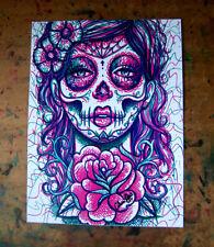 8x10 Inch Art Print Sugar Skull Girl Tattoo Flash Pop Art Lowbrow Roses Skeleton