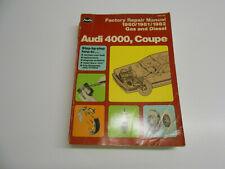 Audi 4000, Coupe Factory Repair Manual 1980/1981/1982 Gas and Diesel