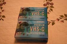 Lot of 2 Tdk Premium Vhs C Camcorder 30 Minute Tapes Factory Sealed