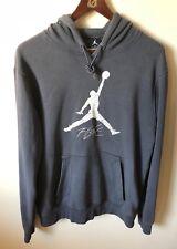 Nike Air Jordan Flight Gray Pullover Hoodie Embroidered Hooded Sweatshirt Sz L