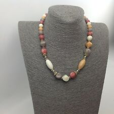 Necklace Beads White Pink Lilac Peach Gold Tone #N23