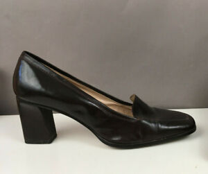 Enzo Angiolini Womens 11 M Leather Brown Square Toe High Heel Loafer Dark Brown