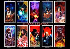 art print A1 guitar legends musicians artists rock and roll blues