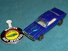 HOT WHEELS REDLINE MATTEL CUSTOM COUGAR 1968  U.S.A. &  BUTTON  NAVY BLUE CAR