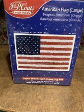Jp Coats Latch Hook Kit American Flag Large Wall Hanging Usa 25134 36x24 New Kit