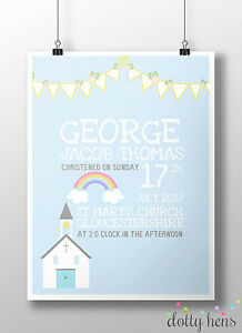 PERSONALISED CHRISTENING PRINT - NEW BABY GIFT BOY / GIRL NAMING DAY PRESENT