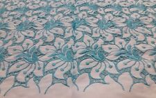 """Vintage Embroidery Cotton Eyelet Lace Blue White Linen Fabric 24"""" Wide"""