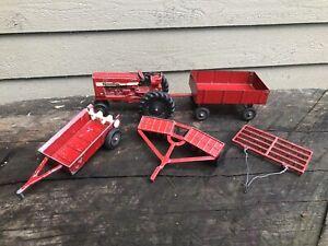 Ertl International Harvester 656 Farmall 1/32 Die Cast Tractor w/ Implements Lot