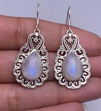 925 Sterling Silver Moonstone Gemstone Drop Dangle Designer Earrings