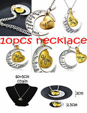 LOT 10pcs MOM I Love You To The Moon and Back Pendant Silver Gold Tone Necklace