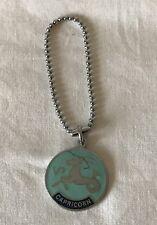 Enamelled Capricorn Astrology Birth Sign Medallion on a Short Length of Chain