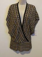 M Missoni Metallic Gold , silver, black Knit Deep V-Neck Striped Tunic Sz. 12