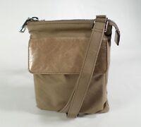 Hobo International Crossbody Handbag Purse Shoulder Bag Nylon Leather Taupe