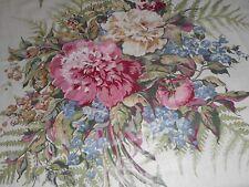 New listing Antique Vintage Carnation Fern Floral Polished Cotton Chintz Fabric ~ Rose Blue