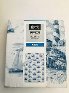 George King Size Duvet Set Lighthouse,  2 Pillowcases W225cm x L220cm Nautical