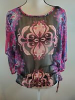 Angie Size Large Women's Top Sheer Kimono Sleeve Floral Boho Elastic Hem Shirt