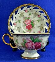 LM Royal Halsey Opalescent PINK ROSES Pierced HEARTS Tea Cup & Saucer Set