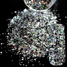 DIY Mix Color White Black Nails Powder Dust Abalone Sequins Nails Glitter N259