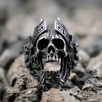 Mens Mars God of War Biker Skull Rings Punk Warrior Stainless Steel Ring Jewelry