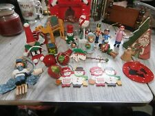 Lot of Assorted Vintage Wooden Christmas Ornaments Plus Extras