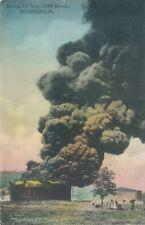 BRADFORD PA - Burning Oil Tank 35000 Barrels - Hand Colored Postcard - 1910