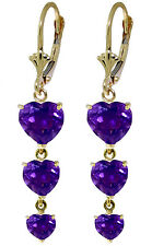 14K Solid Rose Gold Chandelier Earrings with Amethyst