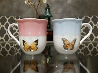 Set of 2 Lenox Butterfly Meadow Coffee Cups Blue Pink  Trim Scalloped 12 oz, New