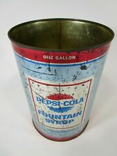 Vintage Pepsi-Cola fountain syrup can tin 1 gallon retro advertising