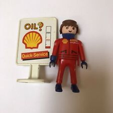 Playmobil GAS STATION ATTENDANT Mechanic Figure SHELL OIL Sign 1992 Geobra