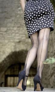 Cervin Seduction Couture Seamed Stockings, Black, Size 5