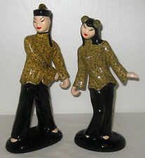 "Vintage Hedi Schoop 12"" & 10.5"" Chinese Dancing Couple NM Excellent Condition"