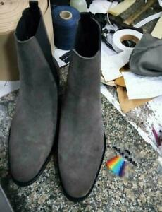 Retro Mens Genuine Suede Leather Pointy Toe High Top Pull On Shoes Chelsea Boots