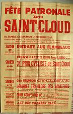 Affiche ancienne FETE DE SAINT-CLOUD 1960 Sport course cycliste Vintage Poster