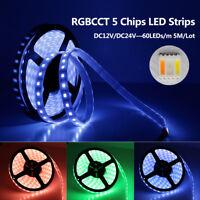 5M RGB+CCT 5 in 1 LED Strip 5050 96led/M 60led/m 12V 24V CW+RGB+WW Flexible lamp