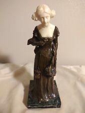 Ferdinand Lugerth (1885-1915) Bronze and Ivory Sculpture Dutch Lady W/Basket