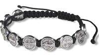 Saint Benedict Silver Tone Medals Black Cord Rosary Wrist Bracelet 8 Inch