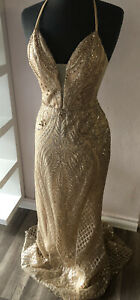 FORMAL PROM WEDDING DRESS GOWN COCKTAIL HOMECOMING CHAMPAGNE GOLD NWT LARGE