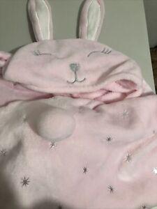 "Cloud Castle Cozy Pink Bunny Hooded Throw Blanket 29""x40"""