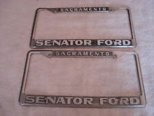 Pair of  Dealer License Plate Frame Senator Ford in Sacramento CA from 1971-2008