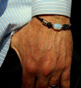 Men stone Bracelet Opal,Black lava,Leather,silver beads,healing stone.MEN gift