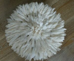 """Authentic Juju Hat in Natural White/Ivory Diameter  17"""" Handmade in Cameroon"""